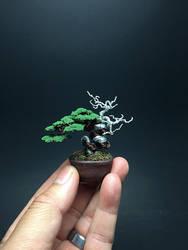 Mame flocked wire bonsai tree by Ken To by KenToArt