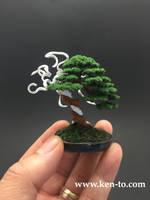 Flocked wire bonsai tree sculpture by Ken To by KenToArt