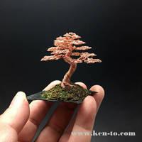 Copper wire bonsai tree on slab by Ken To by KenToArt