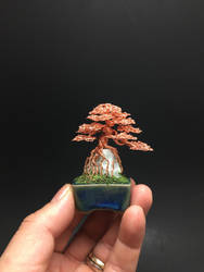 Tiny root-over-rock wire bonsai by Ken To by KenToArt