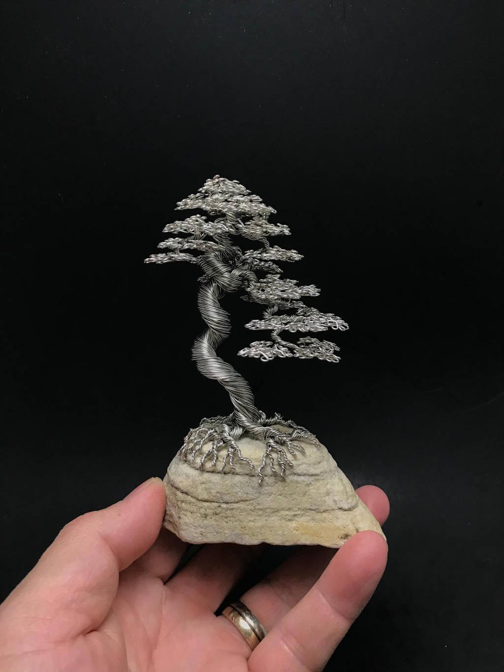 Wire literati bonsai sculpture by Ken To by KenToArt