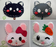 Felt brooches - cat and bunny by Nuri7