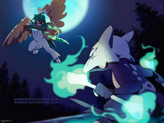 Decidueye VS Marowak by Robbuz