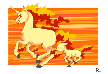 Rapidash and Ponyta by Flimingow