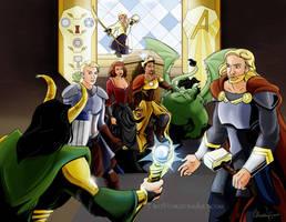 Avengers AU by TwoHorizonsArt