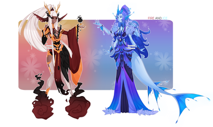 Collab adopt auction: Fire and Ice OPEN by Piannen
