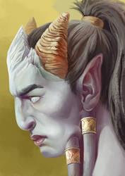 portrait of draenei by KatrinDin