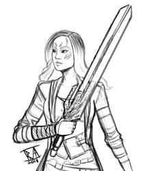 Gamora Sketch by CosmicRick