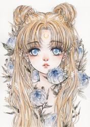 Moonlit Peony by cherriuki