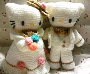 Wedding Kitty amigurumi by thujashop