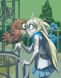 An Owl Girl and her Owl by Tyrranux
