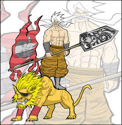 whitebeard on a lion by thrudeyes