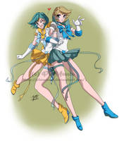 C: Sailors Crystal Uranus and Crystal Neptune by PhinyxRose