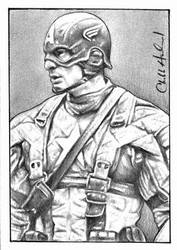 Captain America Sketch Card by CHaverlandArt