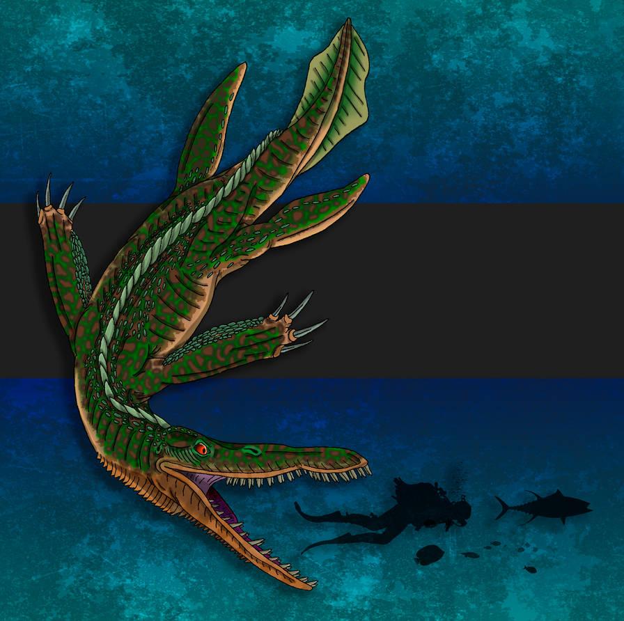 Dinovember Day #16 - Short-Tailed Sea Tyrant by zap123build
