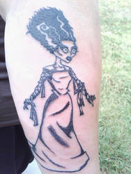 My new tattoo, Bride of Frankenstein by prettywrench