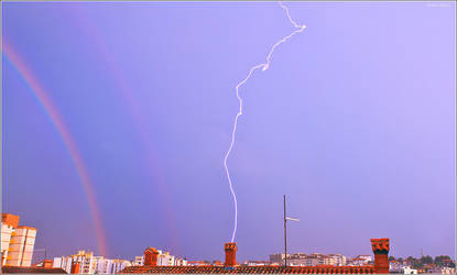 Double rainbow with lightning by nrasic