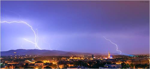 Lightning strikes tv tower, Zagreb Croatia by nrasic
