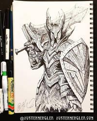 Black Knight - Inktober 18 2018 by AustenMengler
