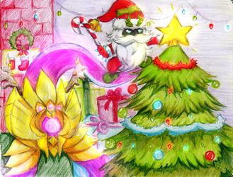 [Secret Santa'17] Holiday Vel'Koz and Veigar by Marzellene