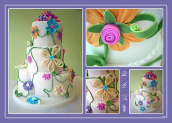 Whimsical Flower Cake by Heidilu22