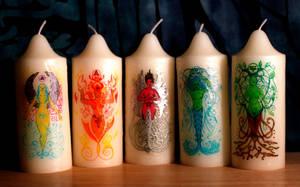 Goddess/elemental candles by El-Sharra