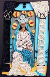 Quilled High Priestess Tarot Card by El-Sharra