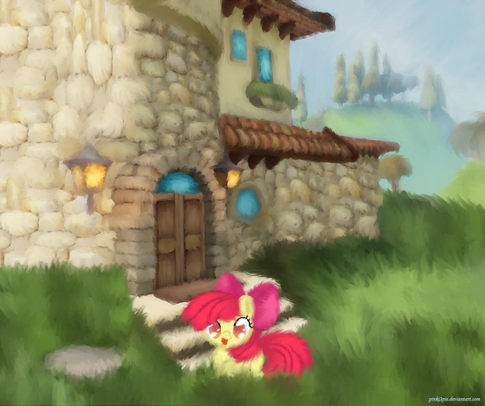 Applebloom Playing by Pinki3pie