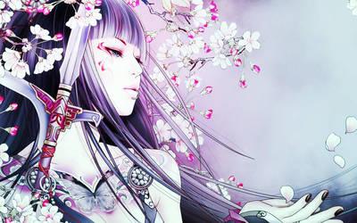 Geisha and Sakura petals. by MP-Celestial