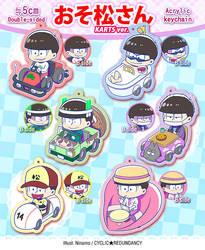 Osomatsu-san ~karts ver.~ acrylic keychains by Ninamo-chan