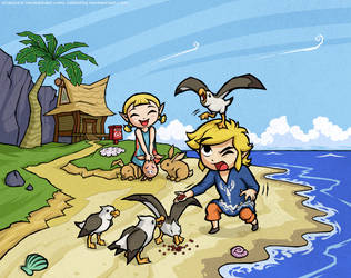 COLLAB with Zellie669- Wind Waker: Outset Siblings by Purrdemonium