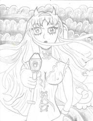 Manga girl with tech Irezumi anime by Mew126