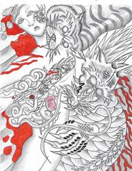 Irezumi Battle Scene Ferocity by Mew126