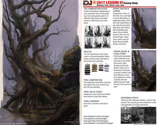 2017 LESSON 01_Swamp Study_Swamp tree,rock, lake by DongjunLu