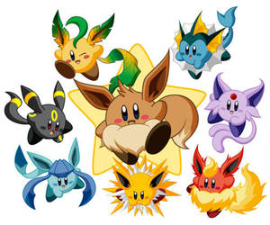 Kirby ,Eevee Evolutions by BubblyBubbles12