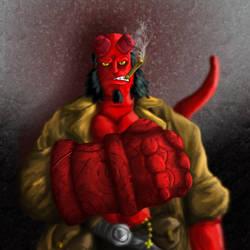 Hellboy Painting Pt 1 by GuruMog