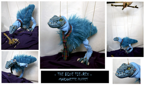 the BLUE Tie-REX ooak marionette puppet FOR SALE by hikigane