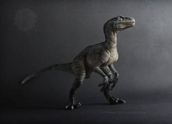 Velociraptor BLUE - posable art doll by hikigane
