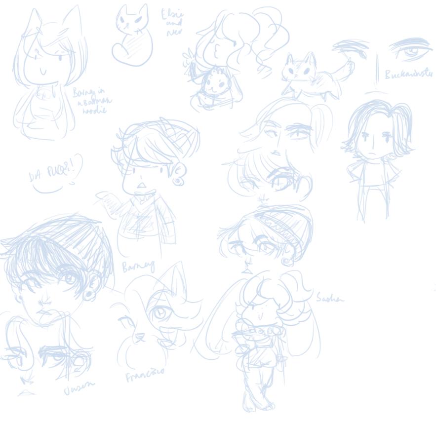 A bunch of OC doodles by sonikkuruzu