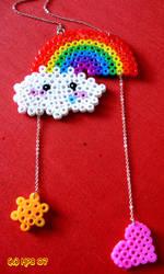 Rainbow bead necklace by kickass-peanut