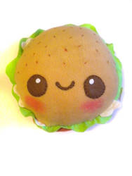 Chicken or Veggie Burger Plush by kickass-peanut