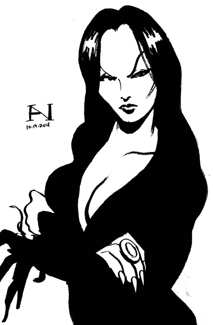 Inktober Day 19 - Morticia Addams by IanJMiller
