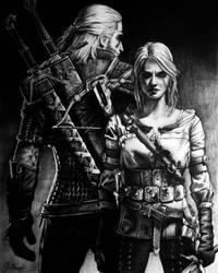 Geralt and Ciri by marcinyak