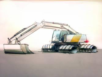 TASH-drive screw propelled excavator concept by buryatsky