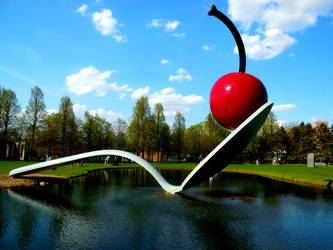 Cherry on a Spoon Sculpture by XxDarkbutterflyxX