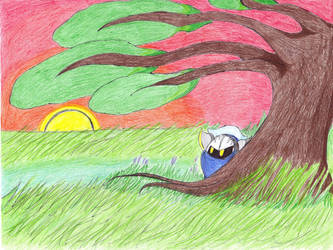 Meta Knight under a Bonsai by TheUltione