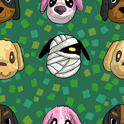 Animal Crossing Dogs Tiled Background by Uw0