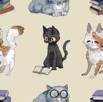 Cat + Book Background by Uw0