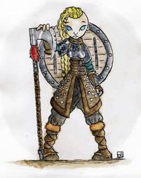 Shield-maiden (watercolor) by gvsmadcat