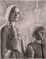 Cersei and Tommen at the Battle of the Blackwater by VKCole
